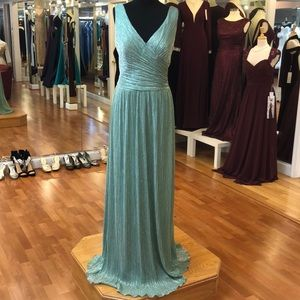 Bridesmaid dress, mint green with silver sparkles
